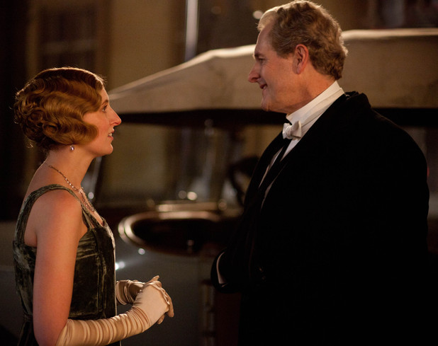 Laura Carmichael as Lady Edith, Robert Bathurst as Sir Anthony Strallan in &#39;Downton Abbey&#39; Season 3, Episode 1.