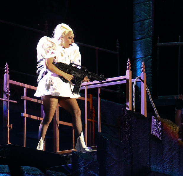Lady Gaga performs on her 'Born This Way Ball' tour at Twickenham Stadium