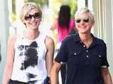Portia De Rossi and Ellen Degeneres out and about in Los Angeles.