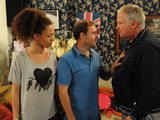 When Tyrone and Kirsty return to phone the police they find Ed back at No 9 with Ruby