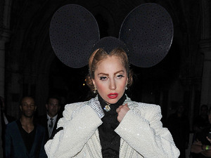 Lady Gaga wearing oversized Mickey Mouse inspired ears London Fashion Week Spring/Summer 2013 - Philip Treacy - Outside Departures London
