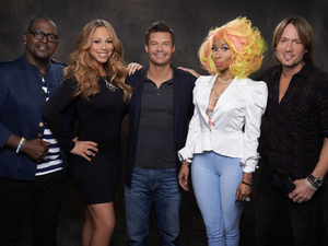 American Idol season 12: L-R Randy Jackson, Mariah Carey, Ryan Seacrest, Nicki Minaj, Keith Urban
