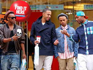 JLS leave the Carphone Warehouse store in London with their brand new iPhone 5s