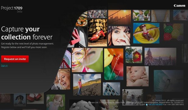Screenshot from www.project1709.com, Canon's cloud-based photo service