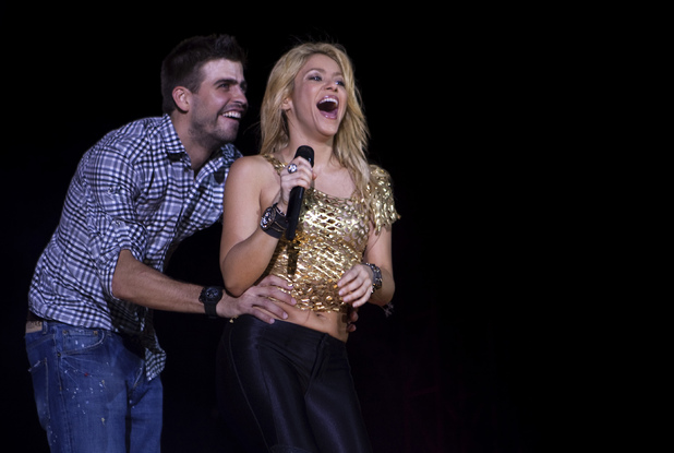 "Shakira with Gerard Pique during ""The Sun Comes Out World Tour"" in Barcelona, May 2011"