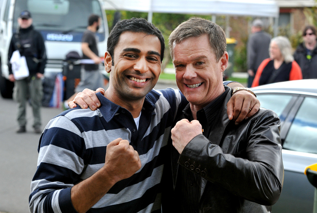 Sachin Joab and Stefan Dennis in Neighbours