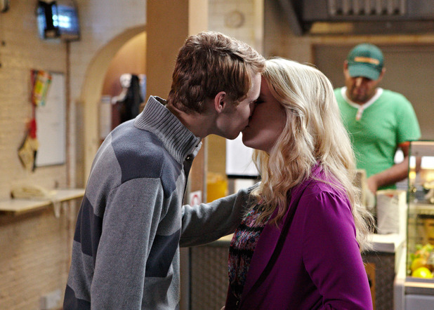 Abi and Jay kiss in EastEnders