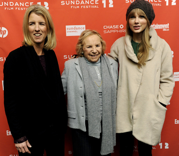 Ethel Skakel Kennedy, center, poses with her daughter Rory, left, the film's director, and singer Taylor Swift at the premiere of the film at the 2012 Sundance Film Festival in Park City, Utah, Friday, Jan. 20, 2012.
