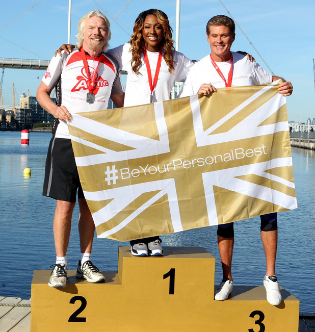 Sir Richard Branson, Alexandra Burke and David Hasselhoff