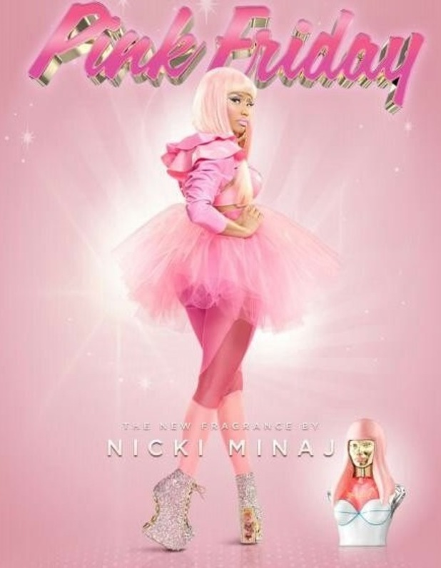 Nicki Minaj in artwork for her 'Pink Friday' perfume.