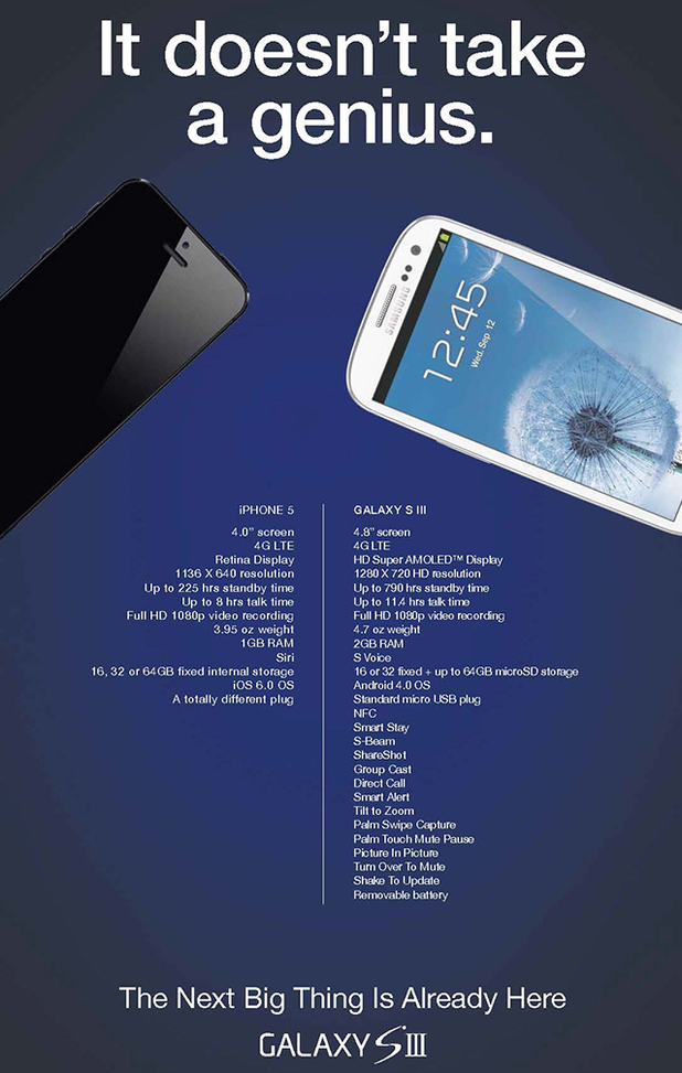 Samsung advert which compares the spec between it's own Galaxy SIII against Apple's iPhone 5