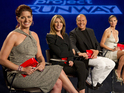 Guest judge Debra Messing joins the Project Runway panel.