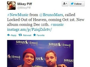 Mikey Piff confirms new Bruno Mars single details on Twitter.