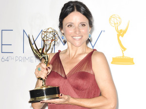 Julia Louis-Dreyfus with her Lead Actress In A Comedy Series award at the 64th Annual Primetime Emmy Awards press room