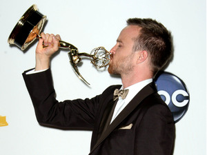 'Breaking Bad' actor Aaron Paul with his Emmy award, September 23 2012
