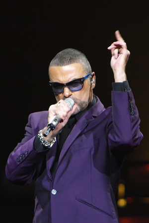 George Michael in concert at the Royal Albert Hall, London.