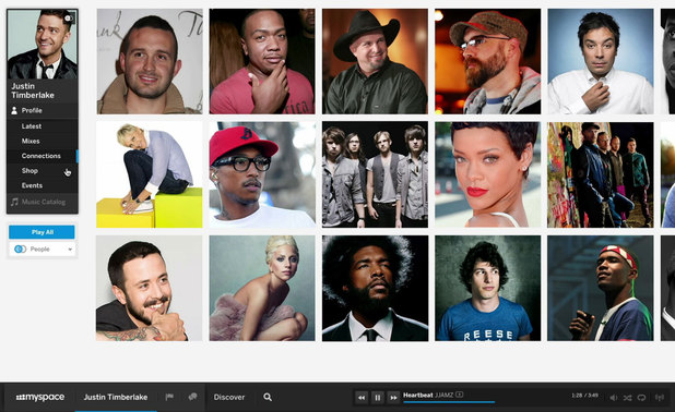 A screenshot of the new look MySpace