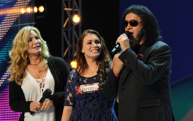 'The X Factor' USA: Sophie Tweed-Simmons with parents Shannon Tweed and Gene Simmons