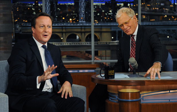 David Cameron with David Letterman, September 26, 2012