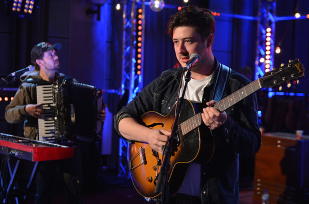 Mumford and Sons performing a Radio 1 Live Lounge special during Fearne Cotton's Radio 1 show
