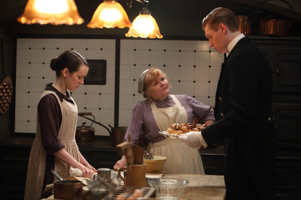 Sophie McShera as Daisy, Lesley Nicol as Mrs Patmore, Matt Milne as Alfred