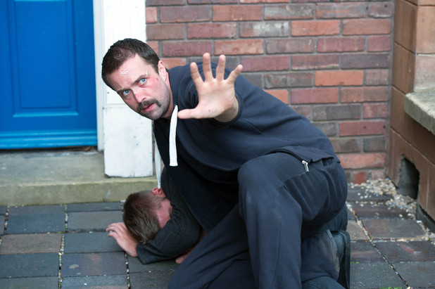 Brendan protects Ste in Hollyoaks