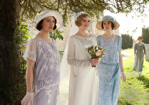 Jessica Brown Findley as Lady Sybil, Laura Carmichael as Lady Edith, Michelle Dockery as Lady Mary