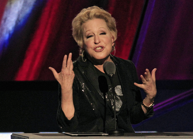Bette Midler photographed in April 2012 at a Rock and Roll Hall of Fame induction ceremony for the late Laura Nyro