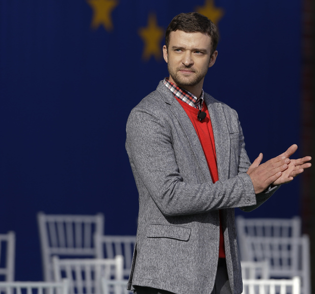 Justin Timberlake at the Ryder Cup opening ceremony, September 26, 2012