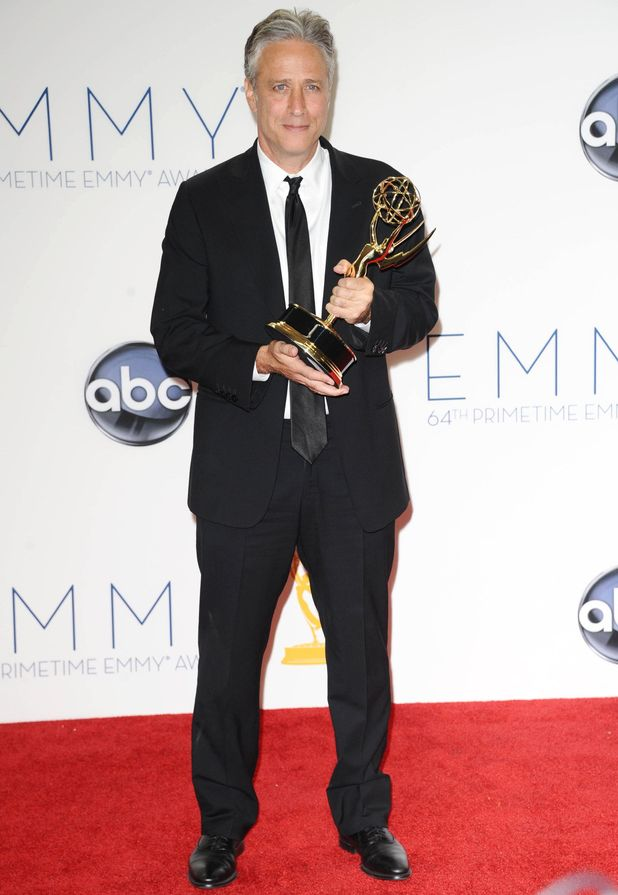 Jon Stewart with his Outstanding Variety, Music Or Comedy Series award at the 64th Annual Primetime Emmy Awards press room