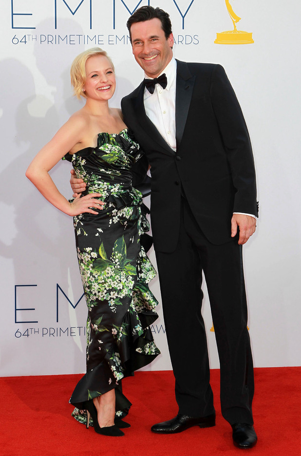 Elisabeth Moss and Jon Hamm 64th Annual Primetime Emmy Awards, held at Nokia Theatre L.A. Live - Arrivals Los Angeles, California