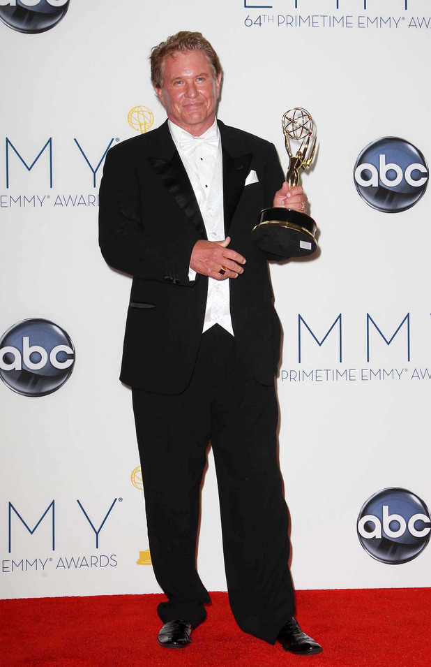 Tom Berenger with his Supporting Actor In A TV Miniseries Or Movie award at the 64th Annual Primetime Emmy Awards press room