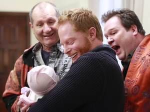 Jesse Tyler Ferguson as Mitchell, Eric Stonestreet as Cameron and Ed O&#39;Neill as Jay in &#39;Modern Family&#39;