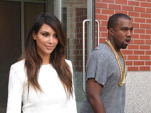 Kim Kardashian and Kanye West are seen leaving Soho to go to a movie theater in Union Square