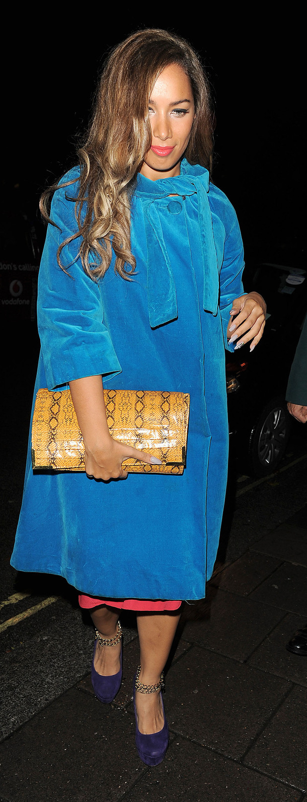 Leona Lewis arriving at Annabel's private members club in Mayfair.