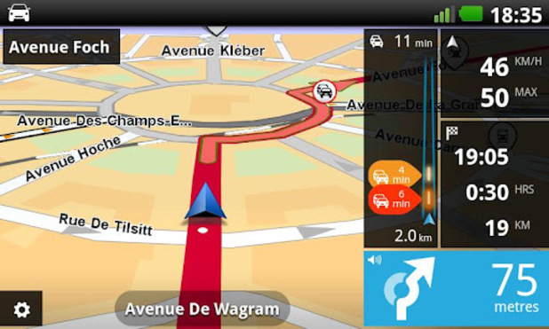 Screenshot of the TomTom app for Android