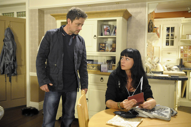 Chas Dingle tells Cameron Murray about her scheme in Emmerdale