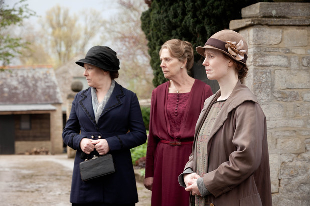 Phyllis Logan as Mrs Hughes, Penelope Wilton as Isobel Crawley and Amy Nuttall as Ethel Parks