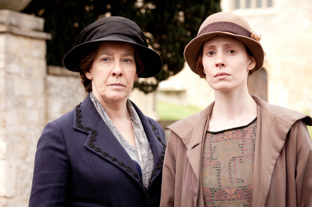 Phyllis Logan as Mrs Hughes and Amy Nuttall as Ethel Parks