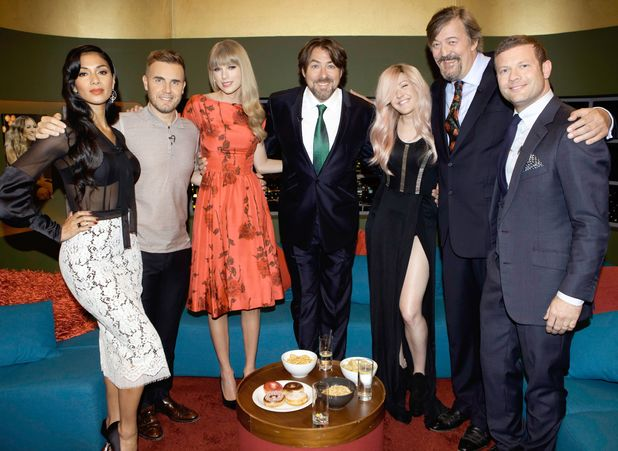 Nicole Scherzinger, Gary Barlow, Taylor Swift, Jonathan Ross, Ellie Goulding, Stephen Fry and Dermot O&#39;Leary.