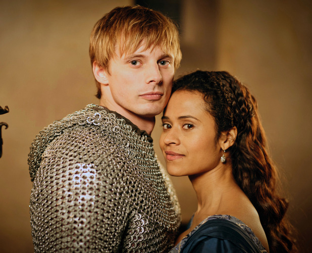 Merlin Season 5, Episode 1 - &#39;Merlin&#39;s Bane - Part 1&#39;. King Arthur Pendragon (Bradley James) and Gwen (Angel Coulby)