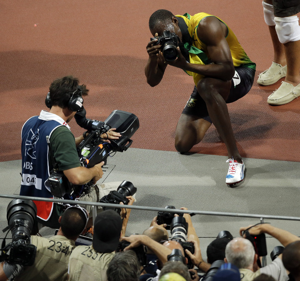 Usain Bolt with Nikon D4 at the London 2012 Olympics