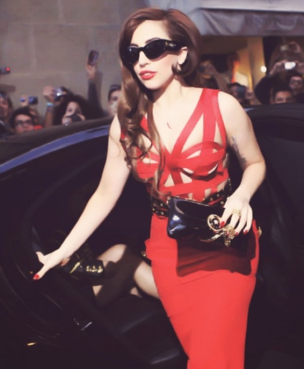 Lady Gaga in Versace in Milan Oct 2012