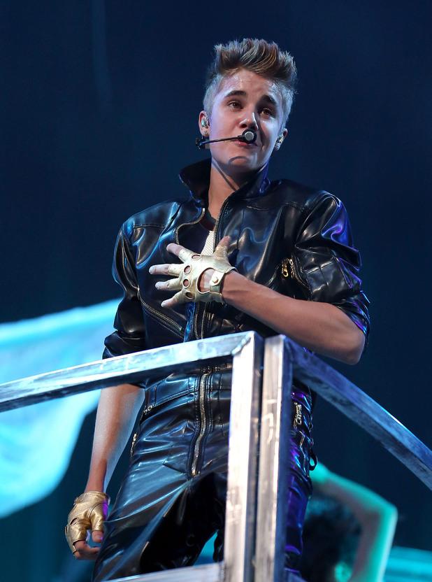 Bieber performing