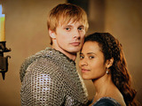 Merlin Season 5, Episode 1 - 'Merlin's Bane - Part 1'. King Arthur Pendragon (Bradley James) and Gwen (Angel Coulby)