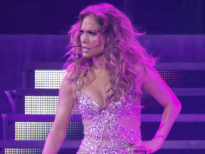 Jennifer Lopez performing on stage her world tour 'Dance Again' at the Palacio de los Deportes. Madrid, Spain