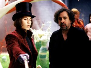 Tim Burton on the set of 'Charlie and the Chocolate Factory' with Johnny Depp