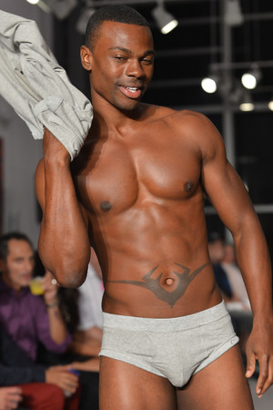 Model during 2(x)ist show at the 2012 SoBe Men's Show at Miami Beach Art Deco Welcome Center Miami Beach, Florida