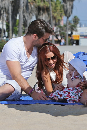 Una Healy of The Saturdays, husband Ben Foden and their daughter Aoife Belle Foden spend the day on the beach Los Angeles, California -10.10.12 Mandatory Credit: Michael Wright/WENN.com