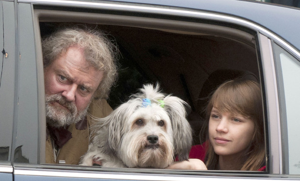 Hugh Bonneville and Nell Tiger Free film scenes for the BBC One adaptation of David Walliam's children's novel 'Mr Stink' in Hemel Hempstead